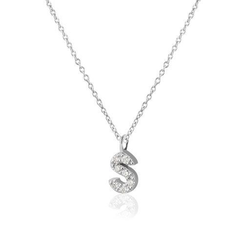 Inicial de oro y diamantes con cadena de oro