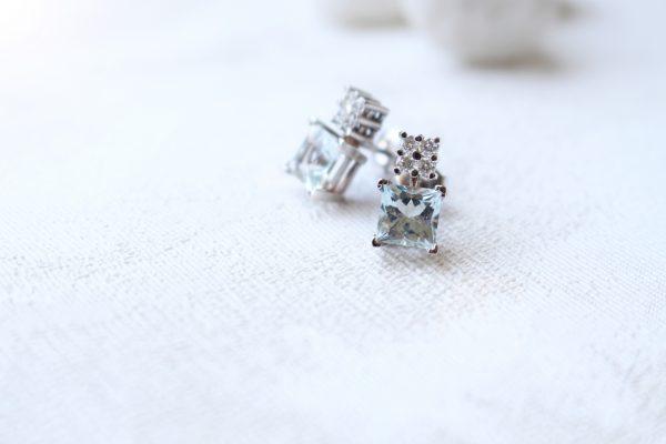 pendientes aguamarina con diamantes