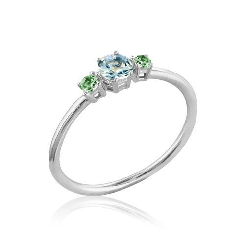 anillo oro blanco aguamarina esmeralda