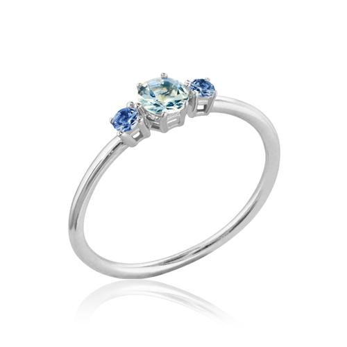 anillo aguamarina zafiro oro blanco