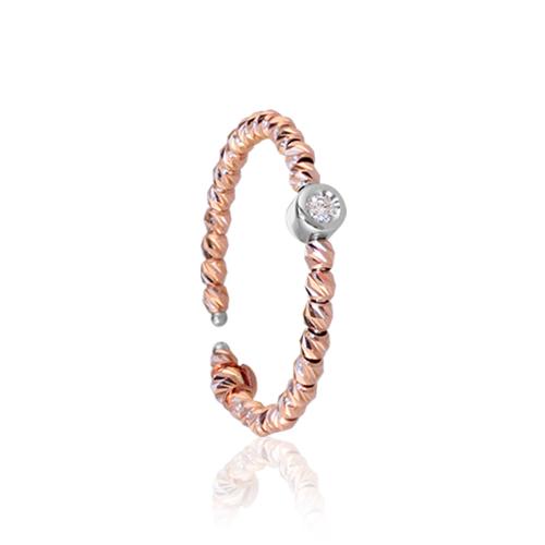 anillo oro rosa diamante