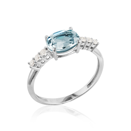 anillo oro aguamarina diamantes