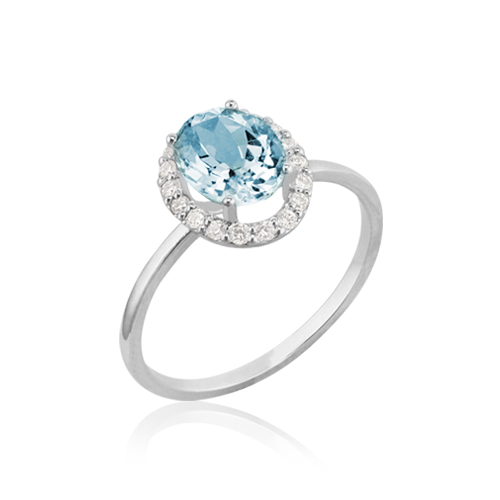 anillo oro blanco aguamarina diamantes