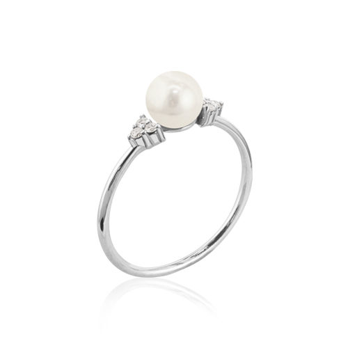 anillo oro blanco perla diamante
