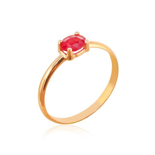 anillo oro rosa rubi