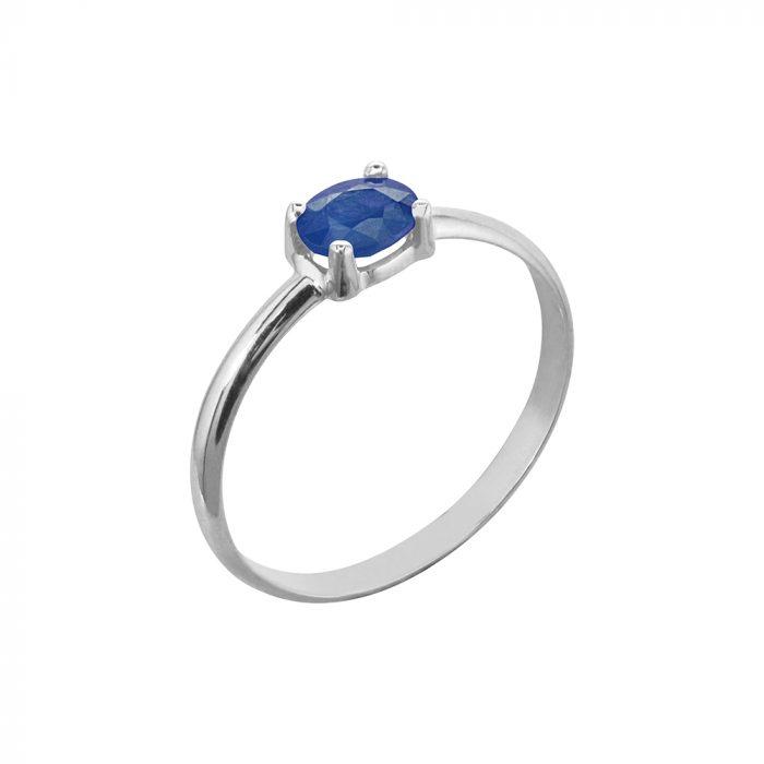 anillo oro blanco zafiro azul