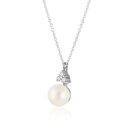 collar oro blanco perla diamantes