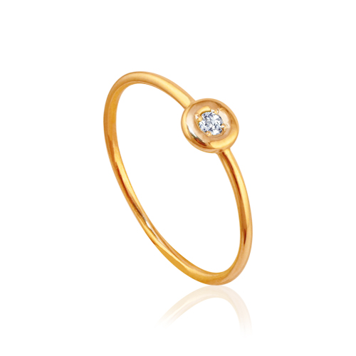 anillo de oro rosa con diamante