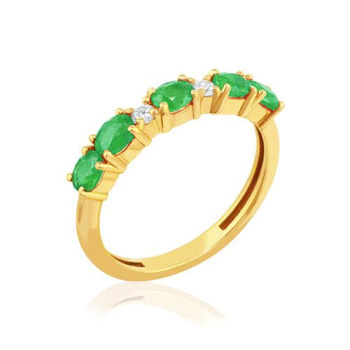media alianza de oro amarillo con esmeralda y diamantes