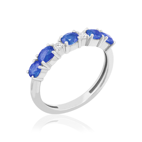 media alianza de oro blanco con zafiro azul y diamantes