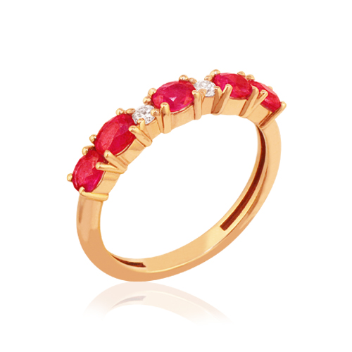 media alianza de oro rosa con rubí y diamantes