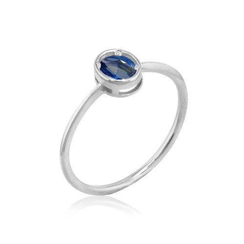 anillo oro blanco zafiro azul oval