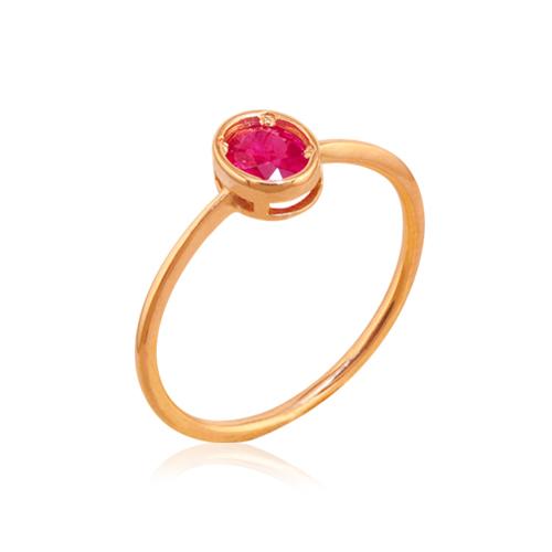 anillo oro rosa rubí oval