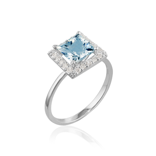 anillo de oro blanco con aguamarina y diamantes