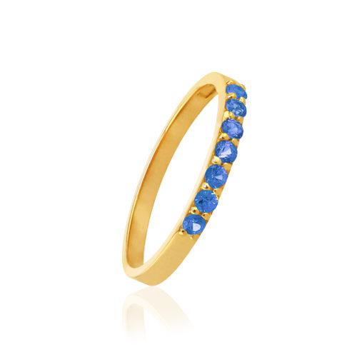 anillo de oro con zafiros azules