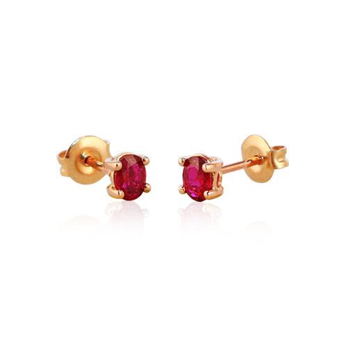 pendientes de oro rosa con rubi