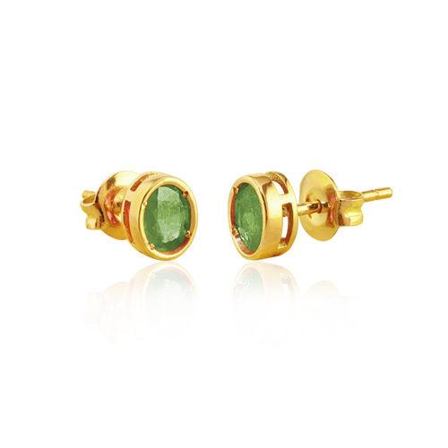 pendientes de oro amarillo con esmeralda