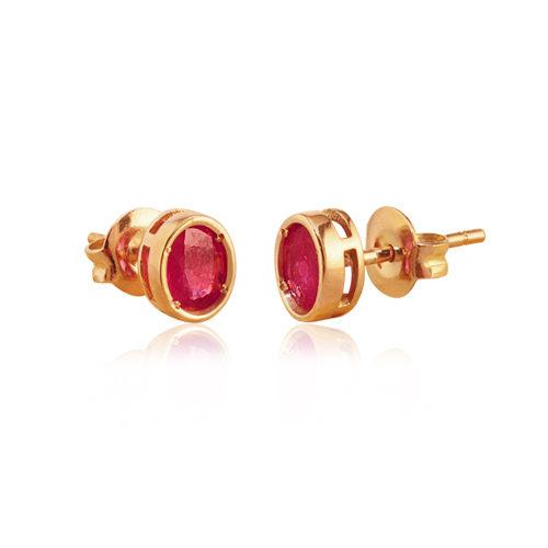 pendientes de oro con rubi