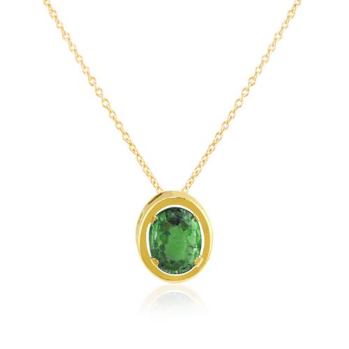 gargantilla oro amarillo esmeralda oval