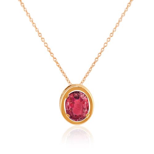 gargantilla oro rosa rubi oval