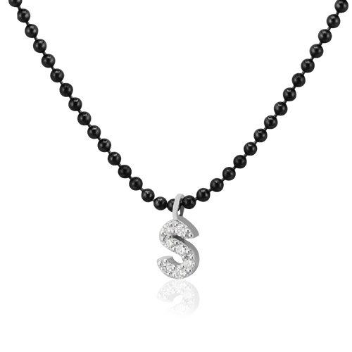 gargantilla de oro bicolor con inicial de diamantes
