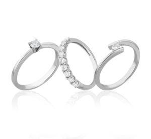 anillos de oro blanco y diamantes