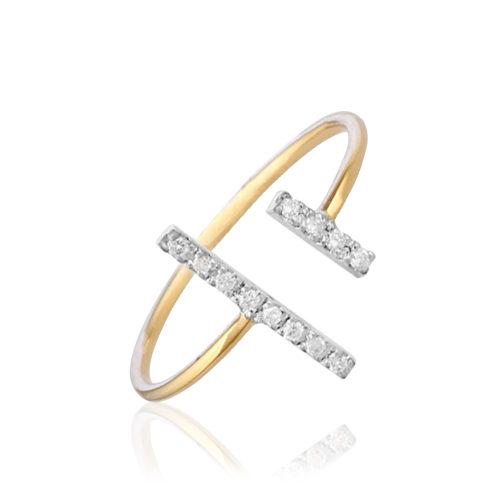 anillo de oro bicolor con diamantes