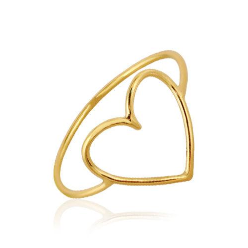 anillo de oro amarillo corazón