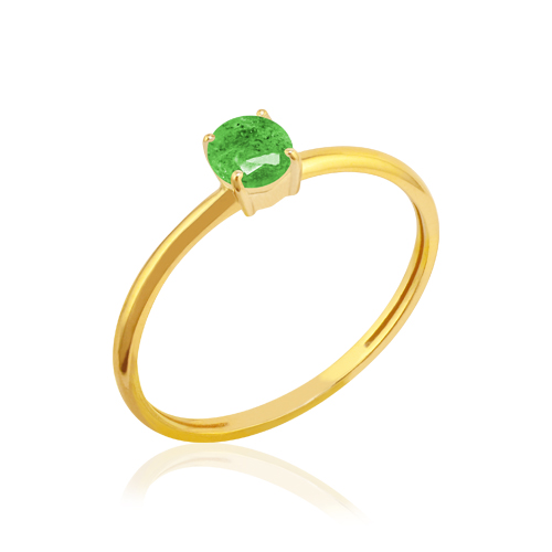 anillo de oro amarillo con esmeralda