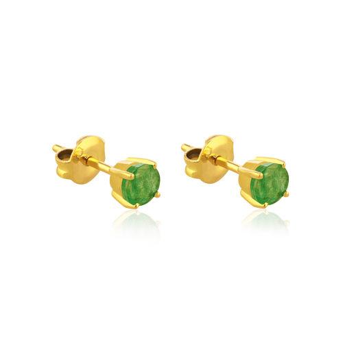 pendientes de oro amarillo con esmeralda redonda