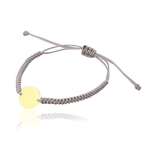 pulsera de macrame con placa redonda de oro personalizarle