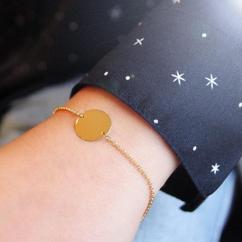 pulsera de oro amarillo con placa redonda personalizarle