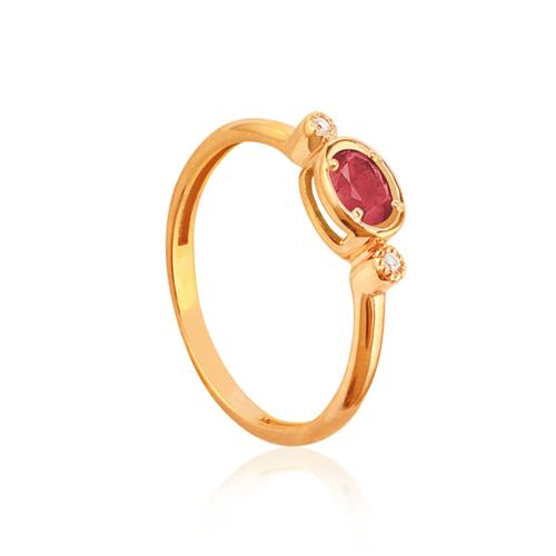 anillo de oro rosa con rubi y diamantes