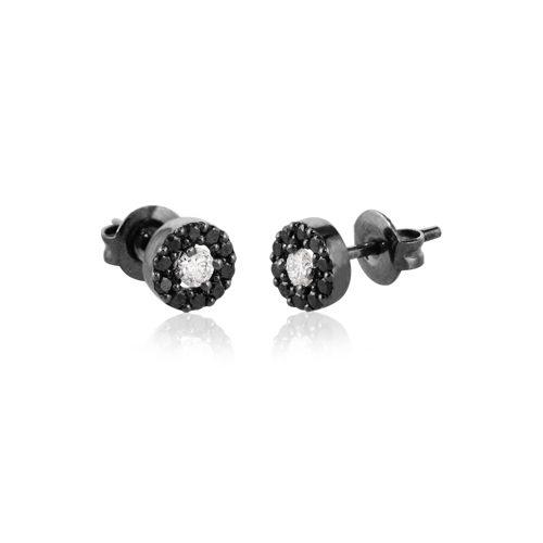 pendientes de oro negro con diamantes negros