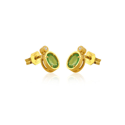 pendientes de oro amarillo con esmeralda y diamantes
