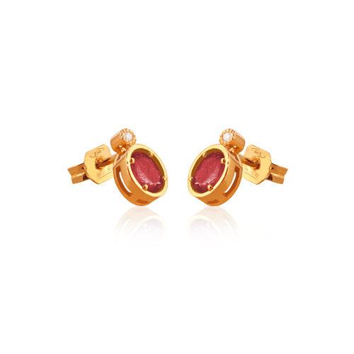 pendientes de oro rosa con rubí oval con diamantes