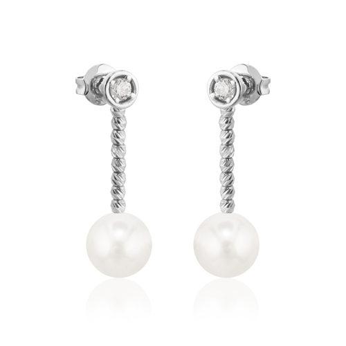 pendientes de oro blanco con perlas y diamantes