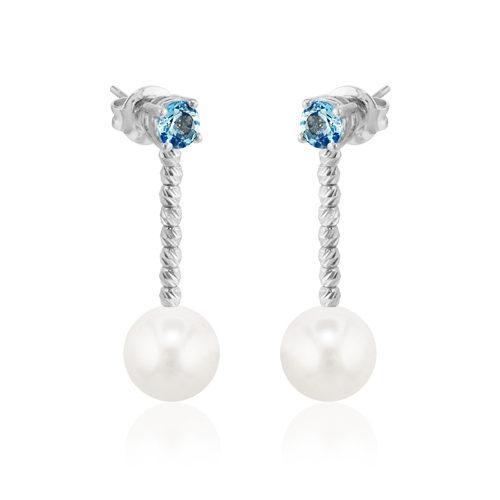 pendientes de oro blanco con perlas y aguamarina