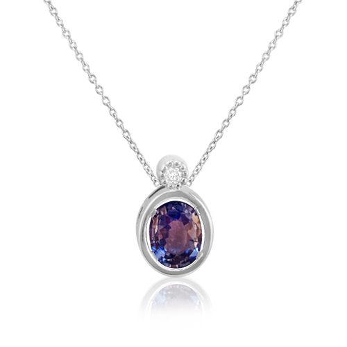 gargantilla de oro blanco con zafiro azul y diamante