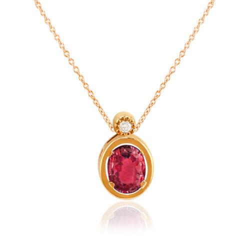 gargantilla de oro rosa con rubí oval y diamante