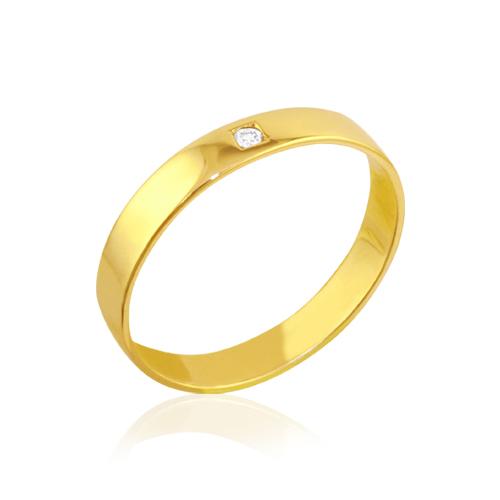 alianza de boda de oro amarillo con diamante