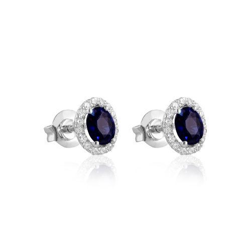 pendientes de oro blanco con zafiro azul y diamantes