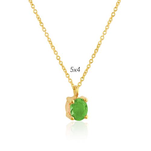 gargantilla de oro amarillo con esmeralda oval