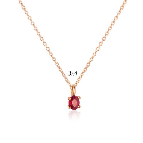 gargantilla de oro rosa con rubí