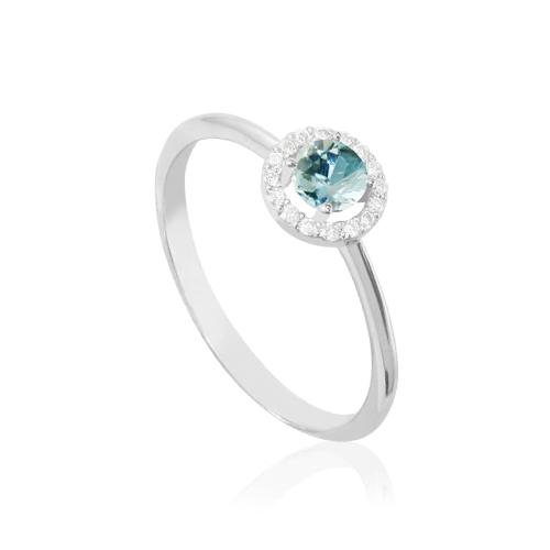 anillo de oro blanco con rosetón de diamantes y aguamarina