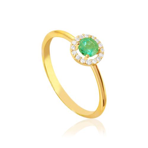 anillo de oro amarillo con rosetón de diamantes y esmeralda