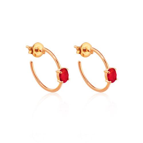 pendientes criollas de oro rosa con rubí