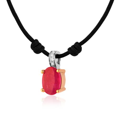 gargantilla de oro rosa y blanco con rubí y diamantes