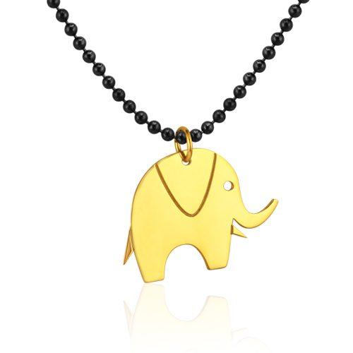 gargantilla con elefante de oro amarillo