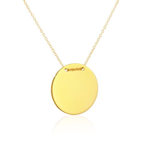 gargantilla de oro amarillo placa redonda